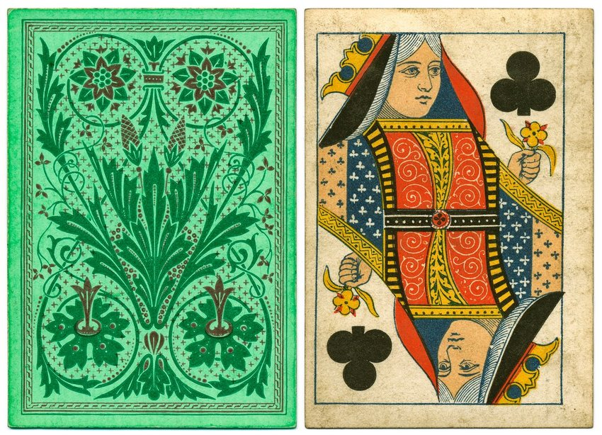 Front and back view of antique queen playing card design