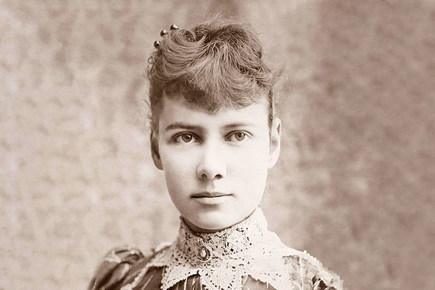 Black and white photo of Nellie Bly