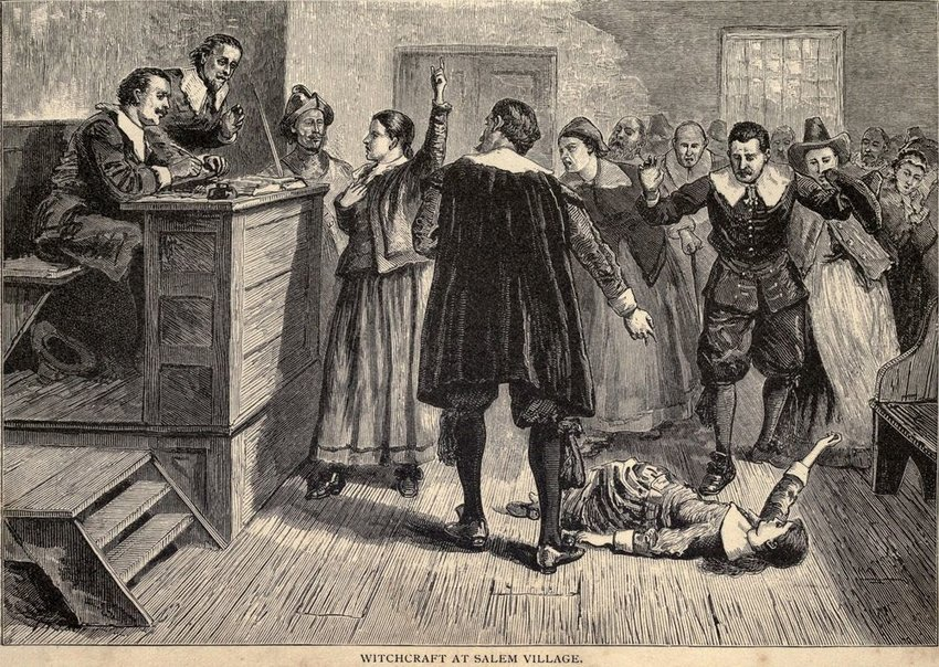 Old illustration of people making a scene in a courtroom