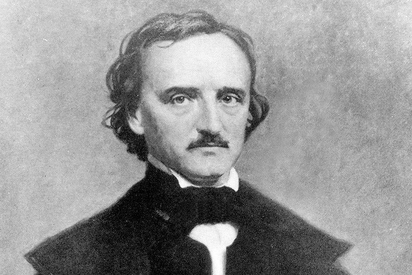 Black and white illustration of Edgar Allan Poe