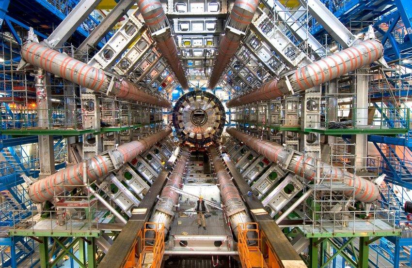 Interior view of Large Hadron Supercollidor particle accelerator at CERN, Geneva