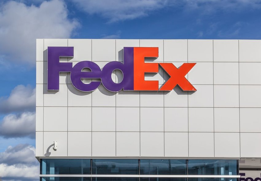 FedEx Shipping Centre with brand logo on display in Toronto, Canada