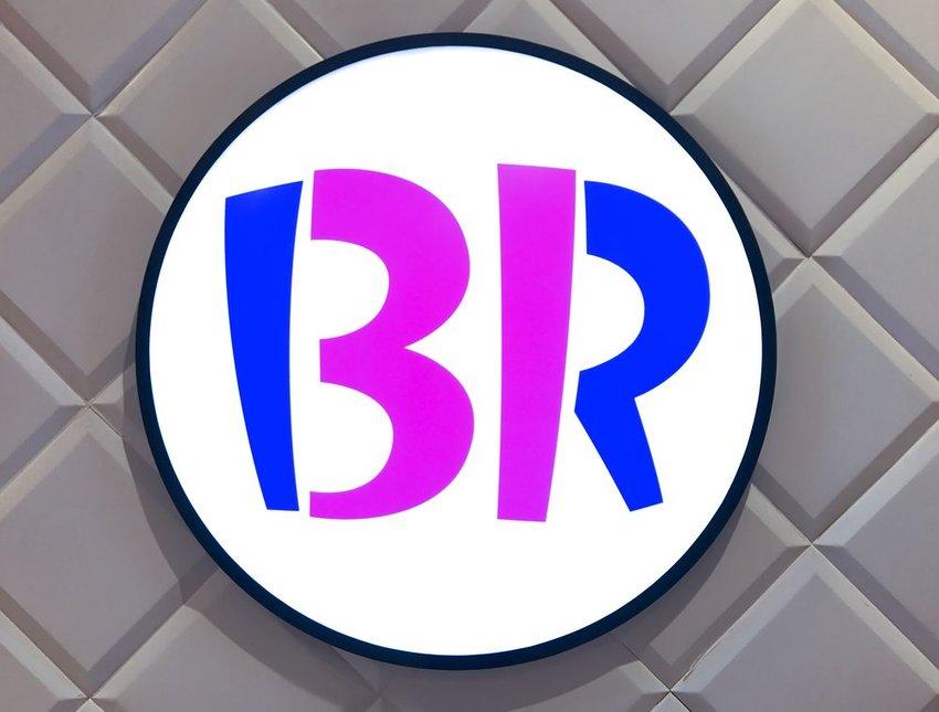 Up close view of Baskin Robbins 31 flavors logo in store, Kuala Lumpur, Malaysia