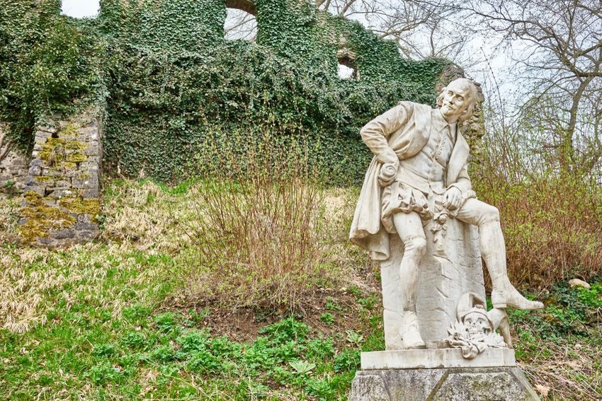 The only statue of William Shakespeare on the European Mainland with greenery, Weimar, Germany
