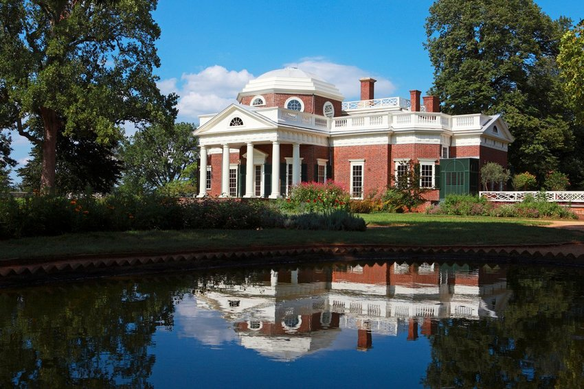 The Monticello, historic home of Thomas Jefferson and landmark in Charlottesville, Virginia