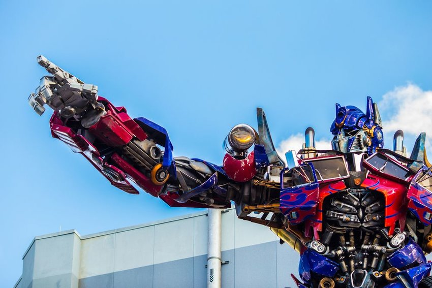 Optimus Prime statue at the entrance of the Transformers 3D ride, Universal Studios, Orlando, Florida