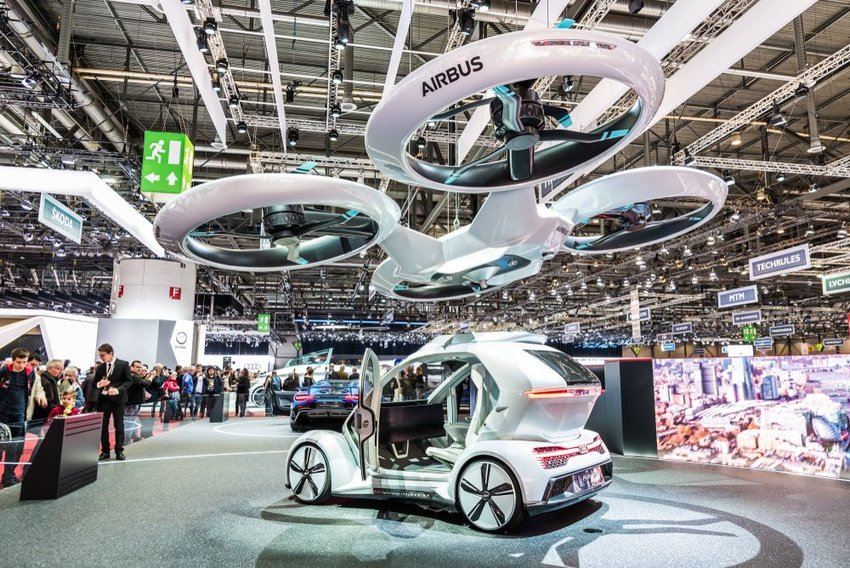 Audi, Airbus and Italdesign mobility flying vehicle concept at 88th Geneva International Motor Show