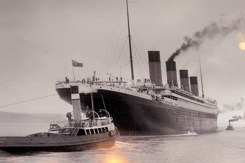 Historical photo of Titanic cruise ship seen at the Titanic Belfast visitor attraction, Ireland