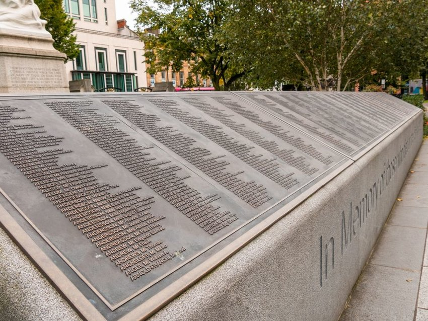 Monument of passengers at the Titanic Memorial Garden, Belfast, Ireland