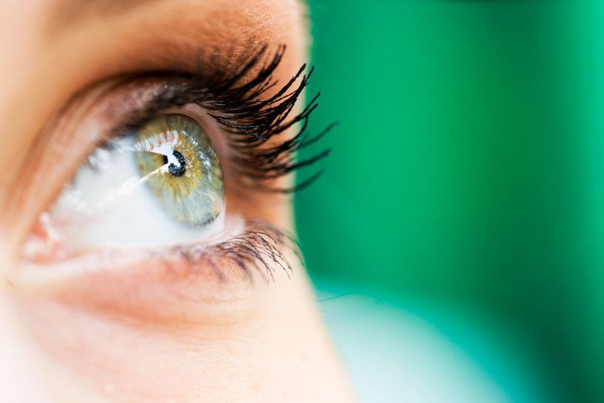 Up close view of woman's green eye and dark lashes against a blurry green backdrop