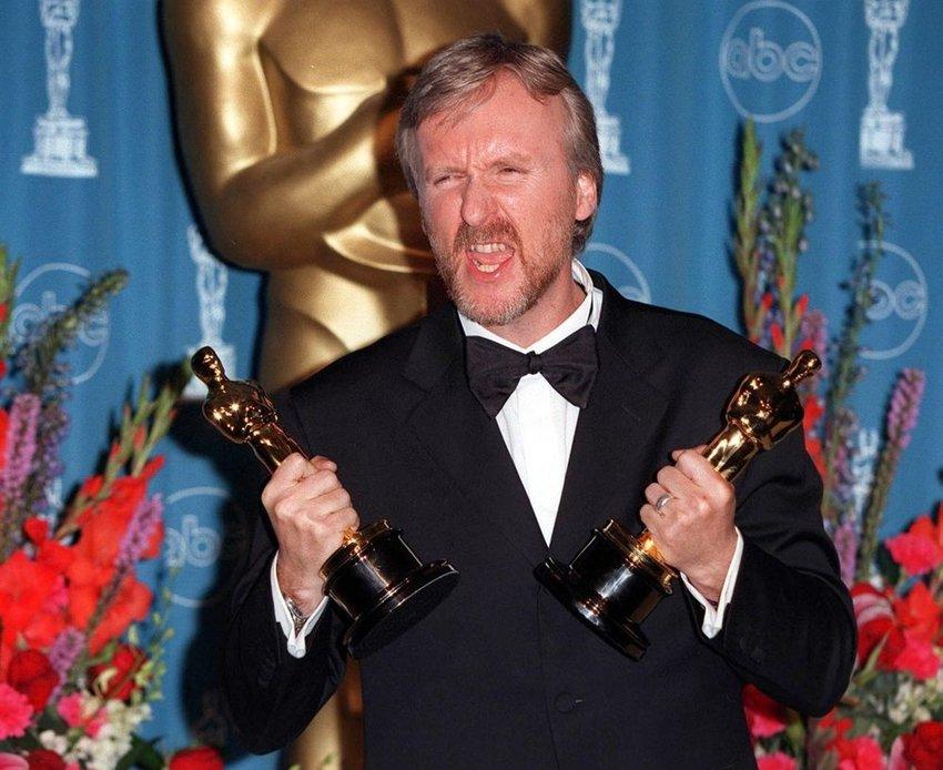 Director James Cameron accepting awards at the 70th Academy Awards, Hollywood, California