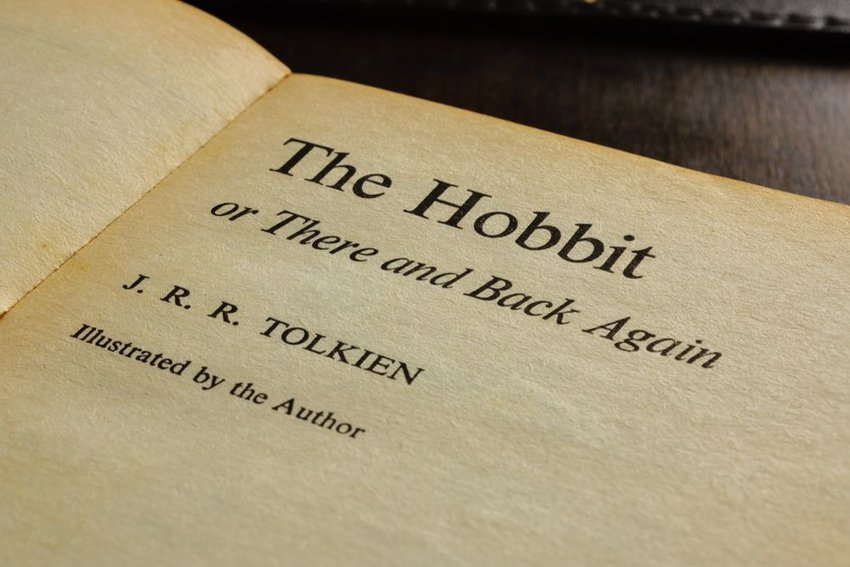 """Up close view of pages from J. R. R. Tolkein's book """"The Hobbit"""""""