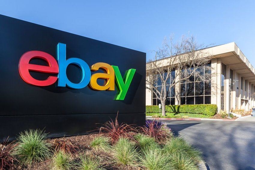 eBay headquarters and sign in Silicon Valley, California