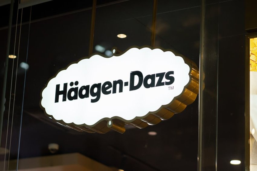 Up close view of white Häagen-Dazs sign outside of a retail store in Shanghai, China