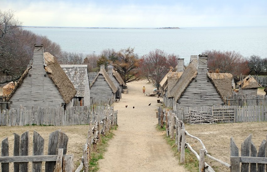 Plimouth Plantation living museum depicting 17th century Pilgrim life, Plymouth, Massachusetts