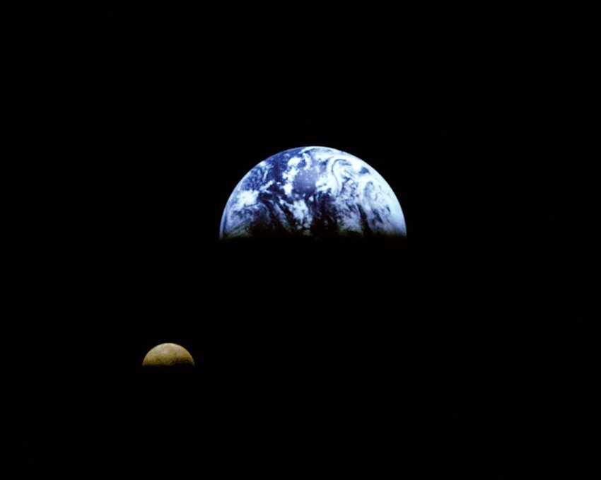 Earth and Moon taken from 3.9 million miles away by the Galileo Spacecraft