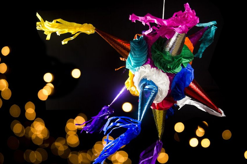 Traditional Mexican multi-colored pinata, used for Las Posadas and birthday celebrations