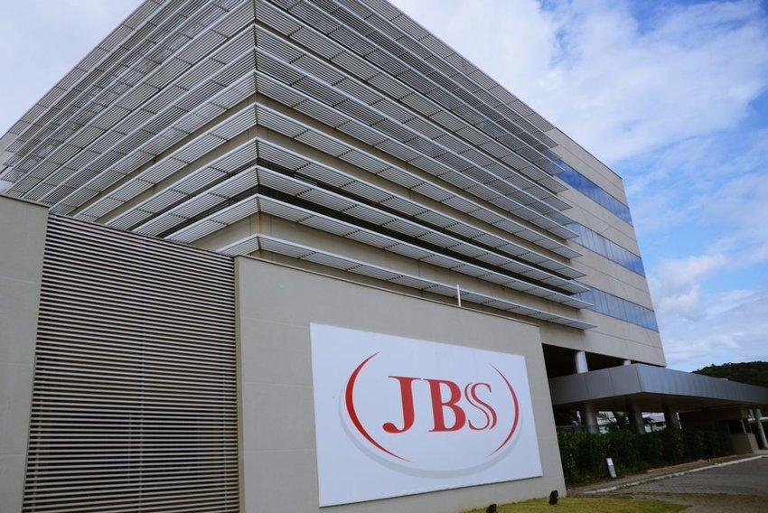 Street view of massive JBS corporate building in Santa Catarina, Brazil