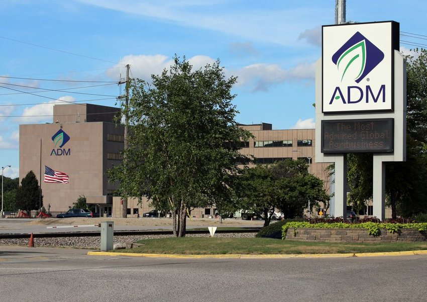 Street view of Archer Daniels Midland Company building with signage out front, Decatur, Illinois