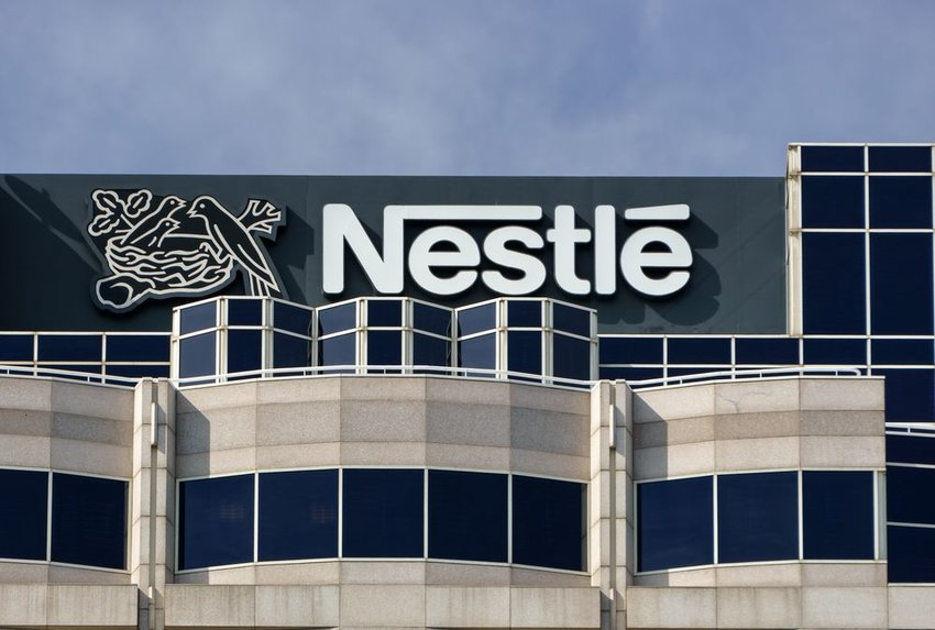 Nestlé headquarters building in Glendale, California, with sign and logo on display