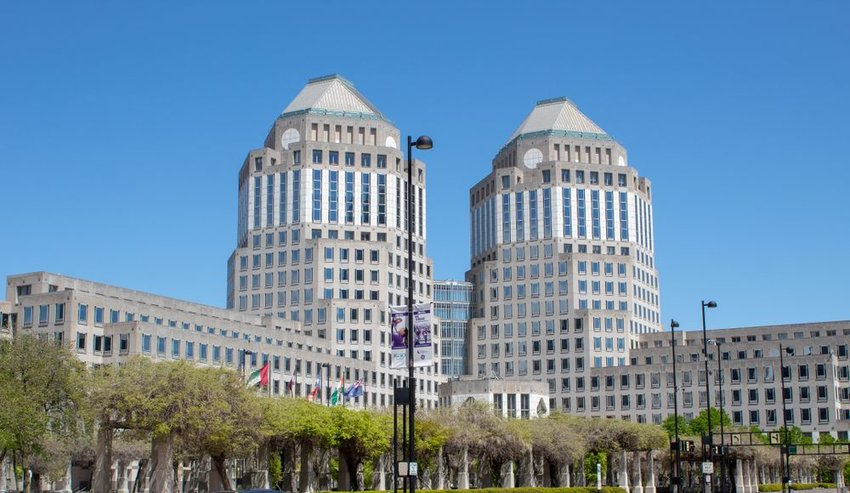 Street view of large Procter and Gamble headquarters building in Cincinnati, Ohio