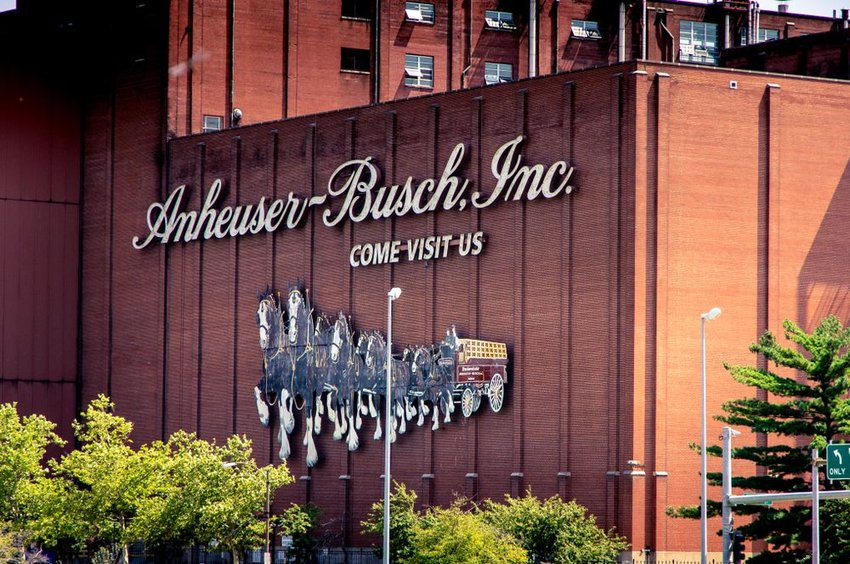Anheuser-Busch brewery building with sign and clydesdale logo, St. Louis, Missouri