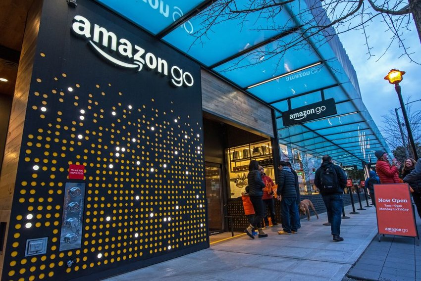 Street view of innovative Amazon Go grocery store without checkout lines, Seattle, Washington
