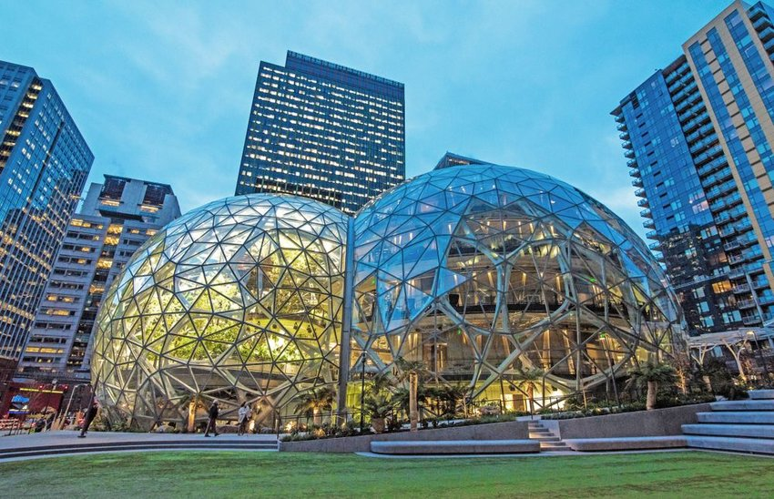 Amazon's Sphere work concept in the middle of a busy metropolitan area, Seattle, Washington