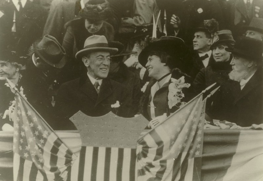 President and Mrs. Wilson take in a baseball game during the President's second term in office.