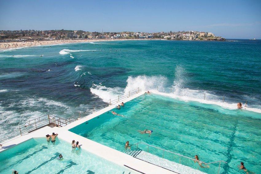 People swimming at Bondi Icebergs Club at Bondi beach, Australia
