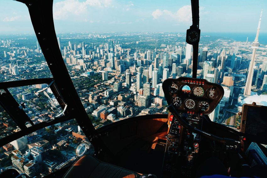View of Toronto, Canada from helicopter pilots view