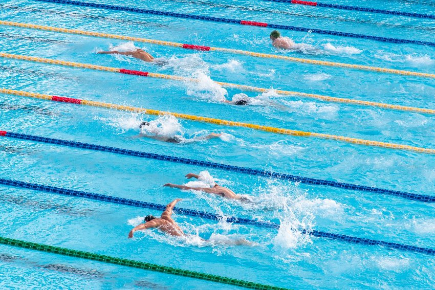 Swimmers competing in a race