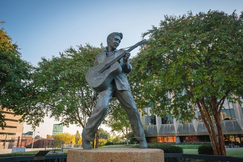 Street view of Elvis Presley Statue in Elvis Presley Plaza, Memphis, Tennessee