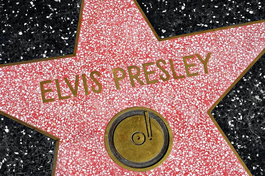 Up close view of Elvis Presley's star on the Hollywood Walk of Fame, Los Angeles, California
