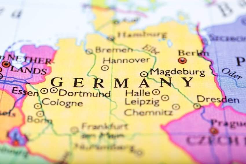 Up close view of flat map showing Germany and its borders