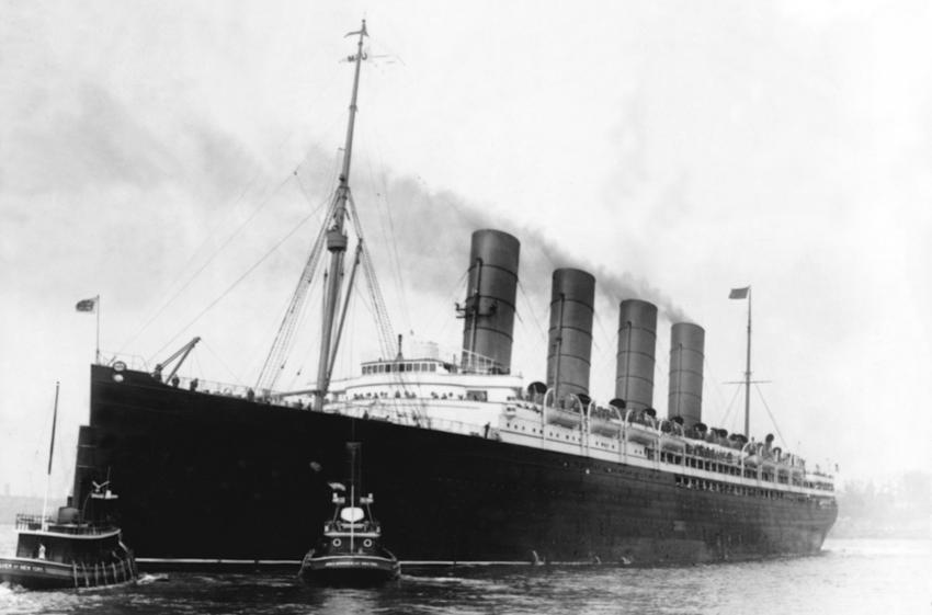 S.S. Lusitania in New York around 1915