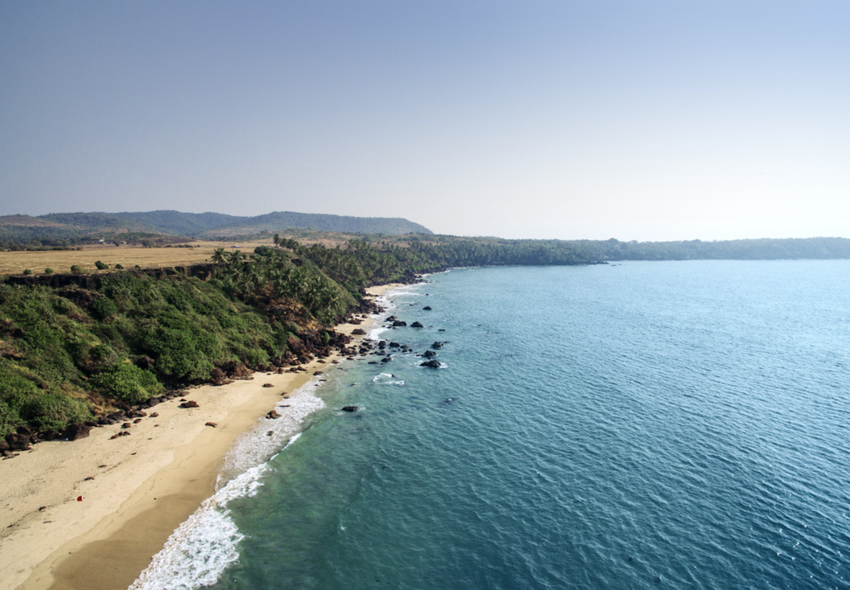 Aerial view of the coast of India