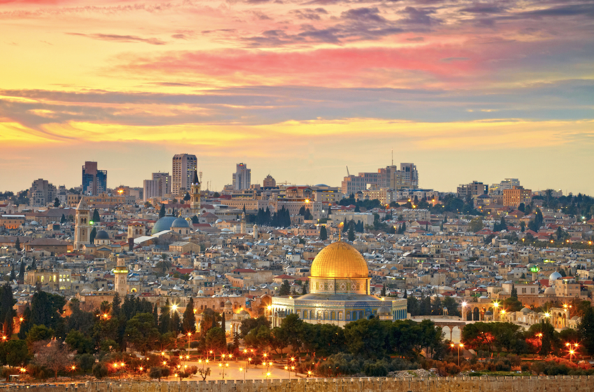 Aerial view of Jerusalem at sunset