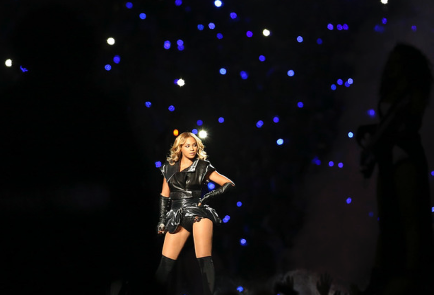 Beyonce on stage at the Super Bowl halftime show