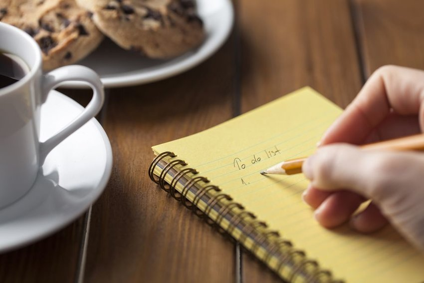 To do list with cookies and coffee