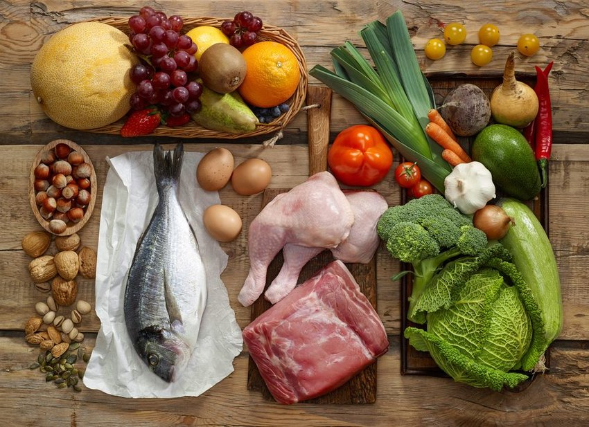 Paleo diet on a wood table