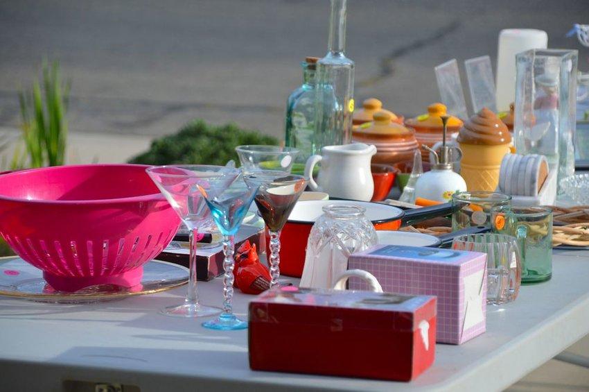 Random items displayed on a table