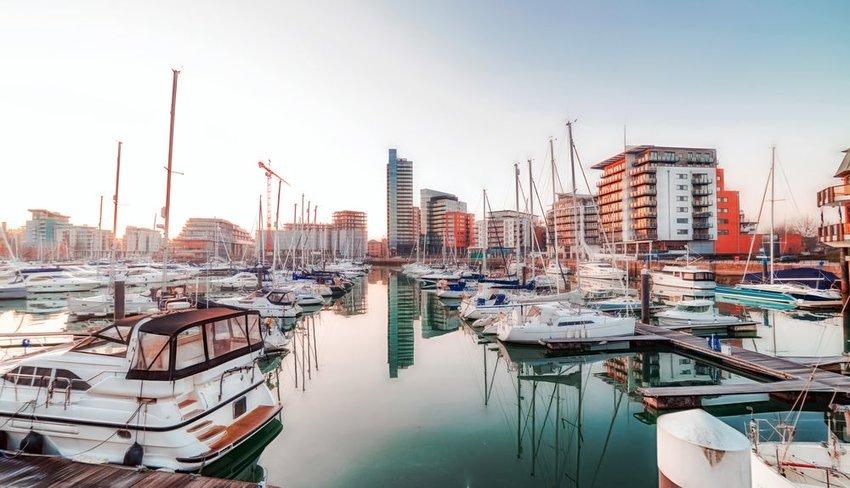 Marina full of boats in Southampton, England