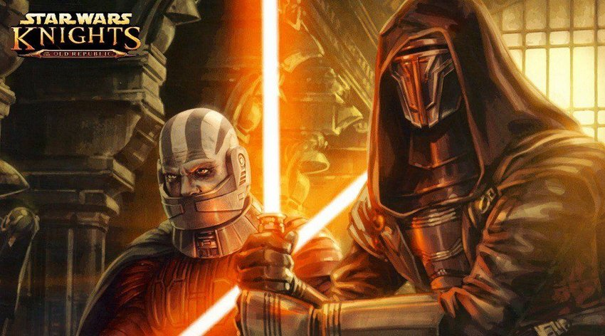 Artwork for Star Wars Knights of the Old Republic video game depicting two characters with light sabers