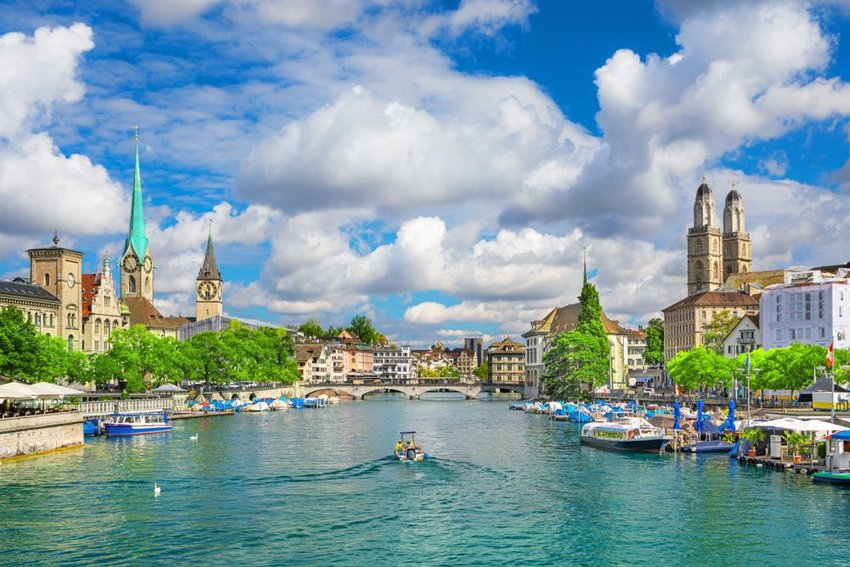 Aerial view of scenic waterways and buildings at the Zurich city center, Switzerland