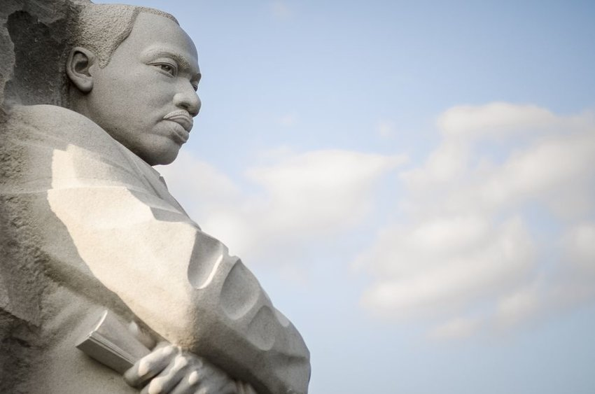 Side view of recent Martin Luther King Jr. stone monument in Washington, D.C.