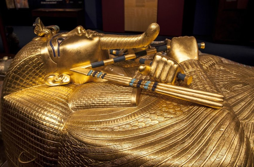 Tutankhamun's sarcophagus at the Tutankhamun exhibition, Slovakia