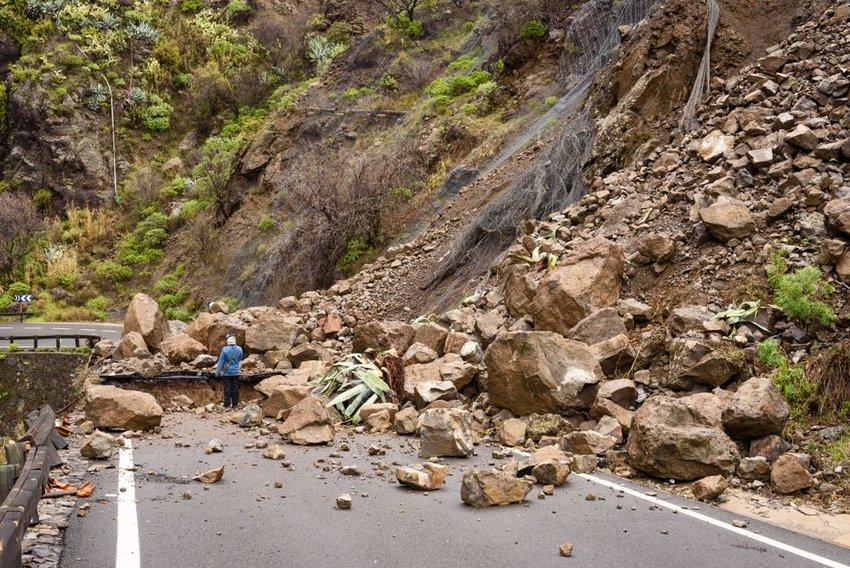 Landslide rocks and debris blocking roadway in Gran Canaria, Spain