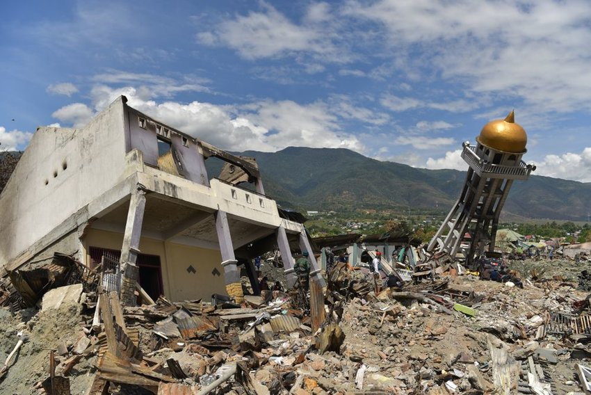 Building destruction and damage after a large earthquake and tsunami