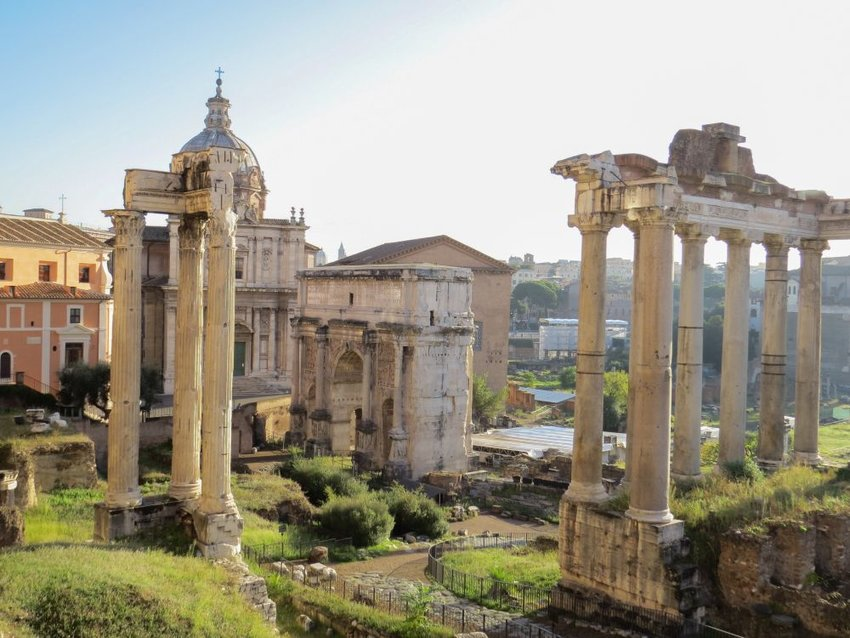 Aerial view of the Ancient Roman Forum showing ruins and pillars